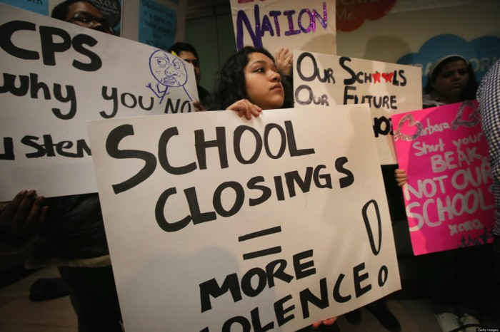 Students Protest School Closings At Chicago Public Schools Headquarters