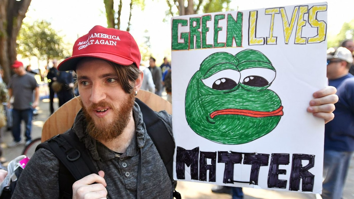 Andrew-Knight-holds-a-sign-of-Pepe-the-frog-unlikely-alt-right-icon.-JOSH-EDELSONAFPGetty-Images